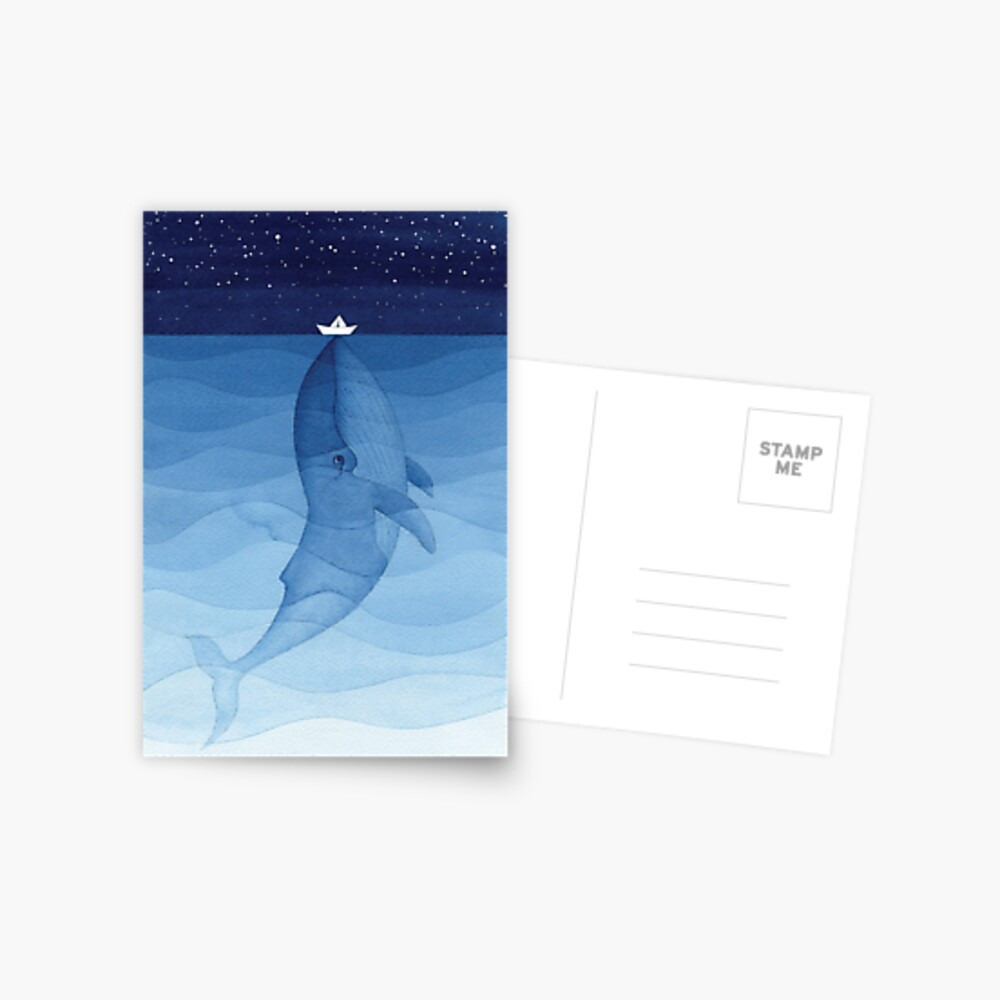 Blue whale, sea animal Postcard