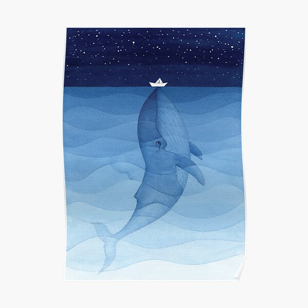 Blue whale, sea animal Poster