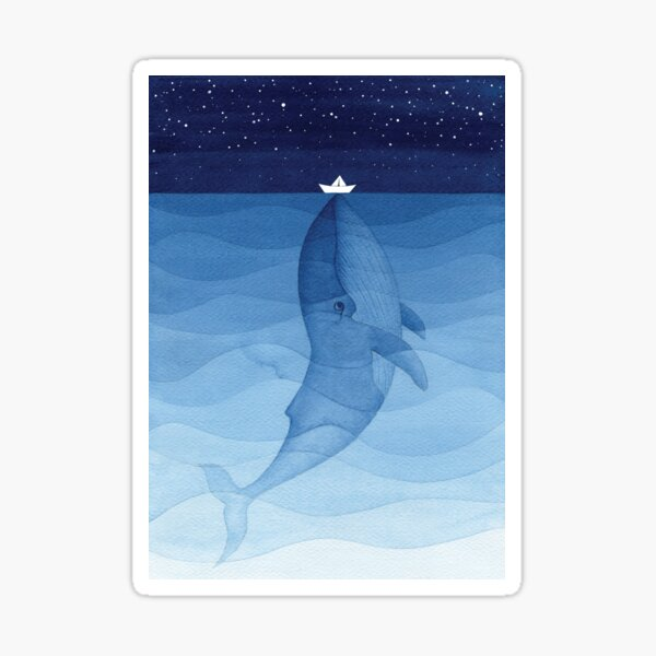 Blue whale, sea animal Sticker