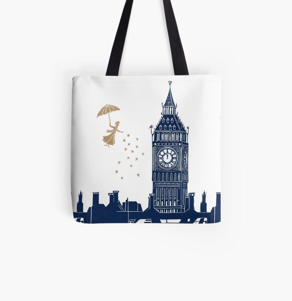 Mary Poppins and Big Ben linocut All Over Print Tote Bag