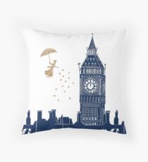 Mary Poppins and Big Ben linocut Throw Pillow