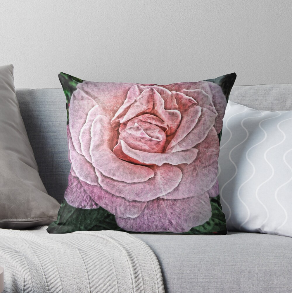 Pink Flower - Cracked Pink Rose Photography Throw Pillow