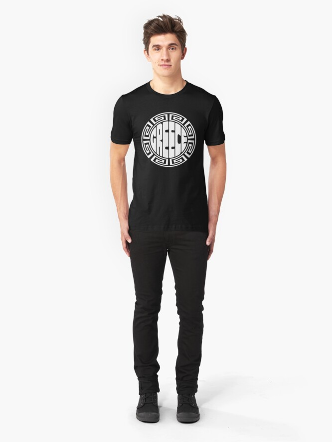 Alternate view of Greece - original round design Slim Fit T-Shirt