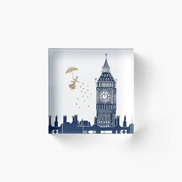 Mary Poppins and Big Ben linocut Acrylic Block