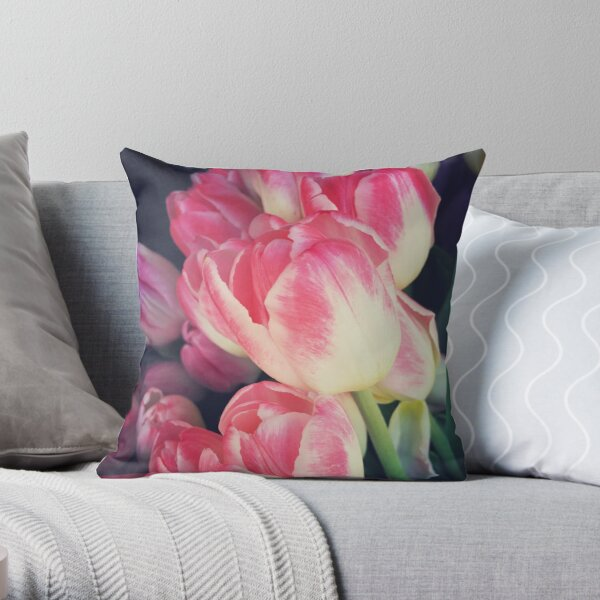 Tulip Lovers - Dramatic Pink Tulips Art Photography Throw Pillow