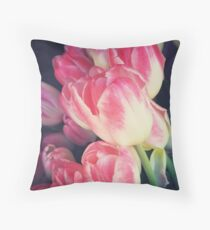 Tulip Lovers - Dramatic Pink Tulips Photography Throw Pillow