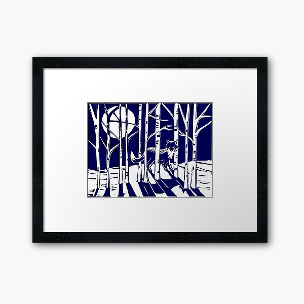 Fox in the Moonlight Linocut Framed Art Print