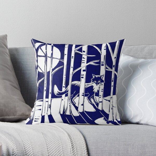 Fox in the moonlight Linocut Throw Pillow