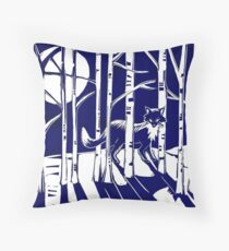 Fox in the moonlight Linocut Throw Pillow