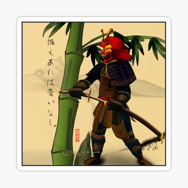 Samurai with Bamboo Sticker