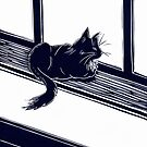 Cat on a windowsill linocut by Maddy Bennett