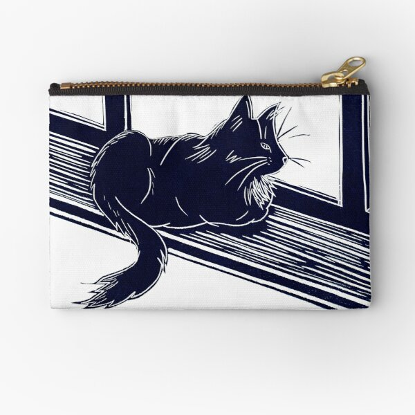 Black Cat Linocut Zipper Pouch