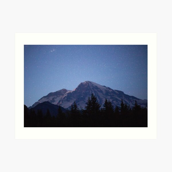 Mount Rainier Stars Art Print