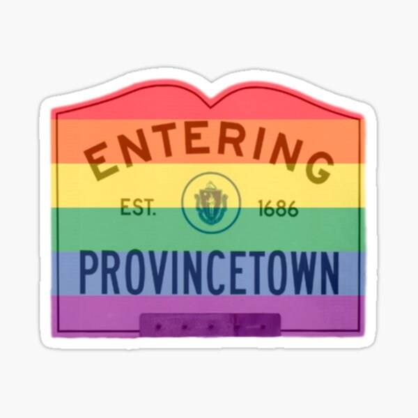 Entering Provincetown Rainbow Road Sign Sticker