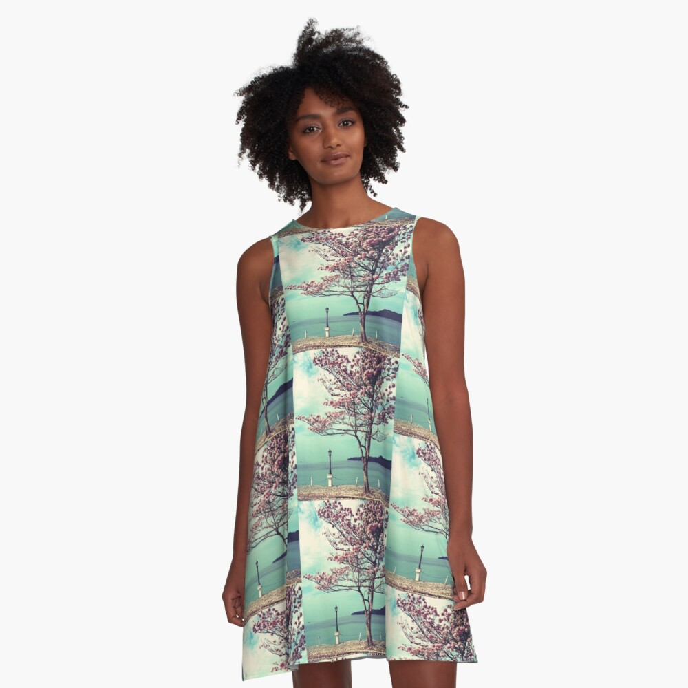 Blooms by the Sea - Panama Landscape  A-Line Dress