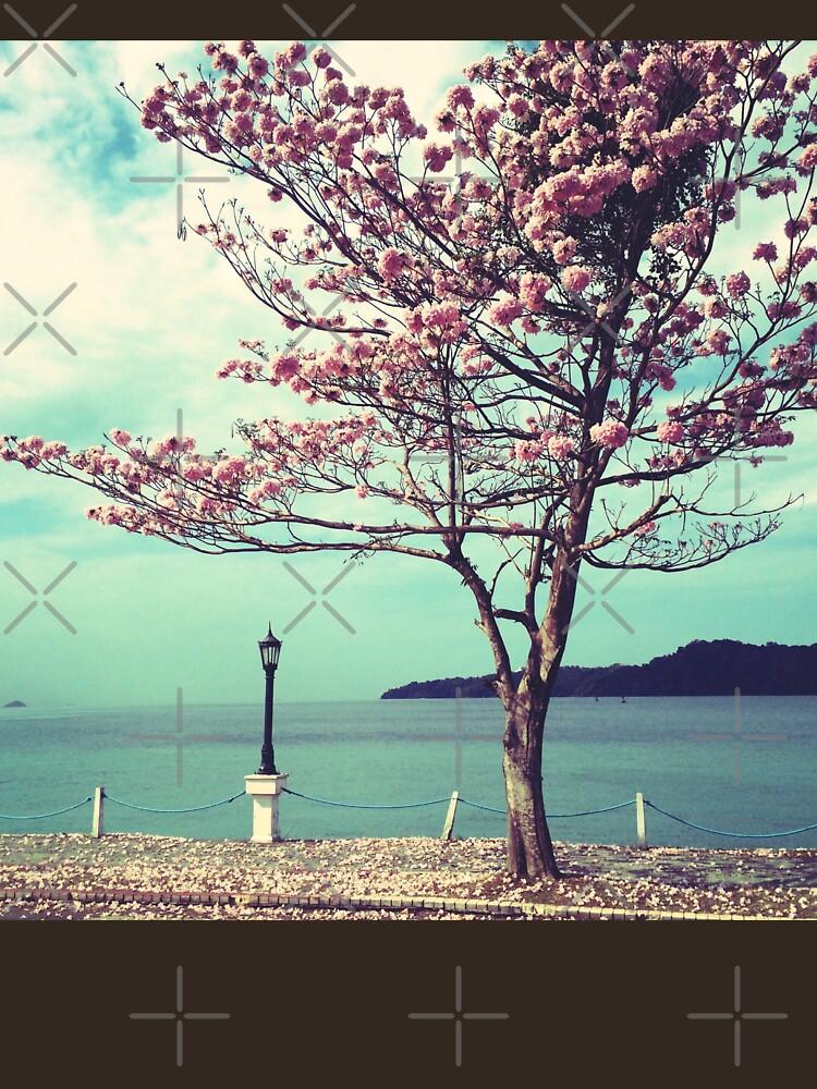 Blooms by the Sea - Panama Landscape - Pink Guayacan Tree by OneDayArt
