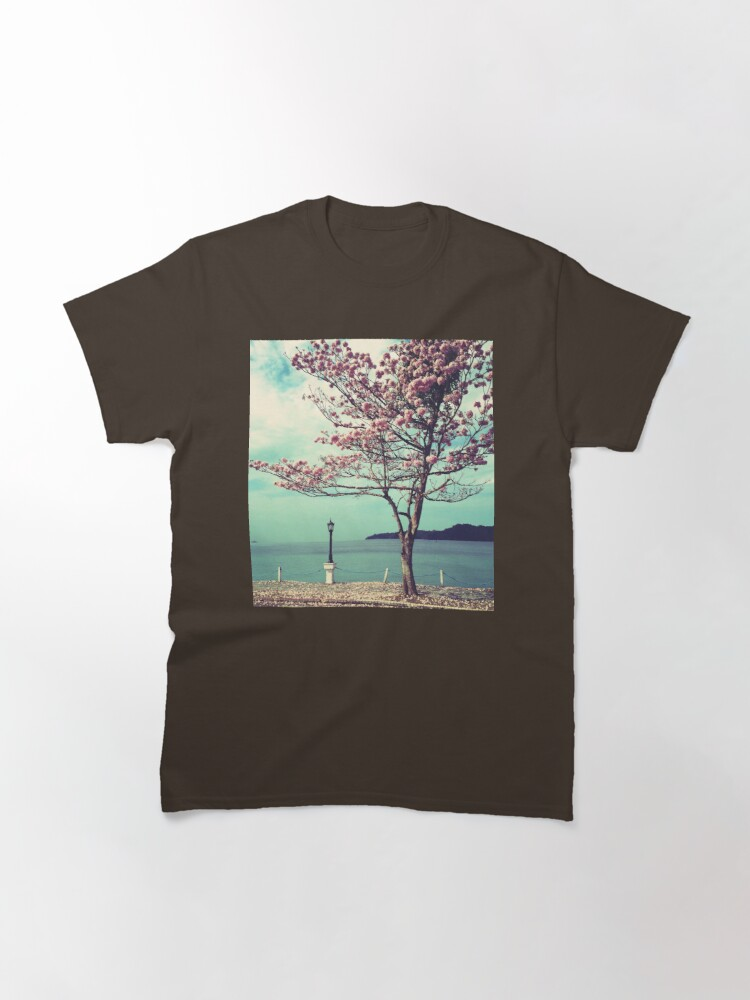 Alternate view of Blooms by the Sea - Panama Landscape - Pink Guayacan Tree Classic T-Shirt
