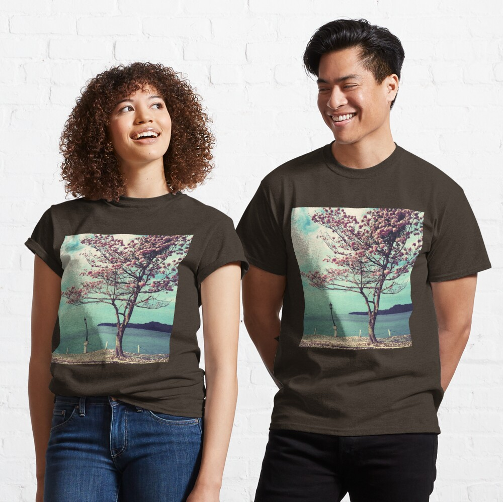 Blooms by the Sea - Panama Landscape - Pink Guayacan Tree Classic T-Shirt
