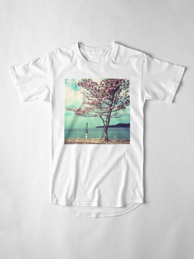 Alternate view of Blooms by the Sea - Panama Landscape  Long T-Shirt