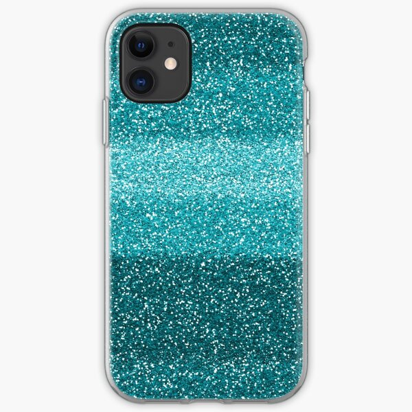 Glittery Glitter Teal Turquoise Blue Glitter iPhone Soft Case