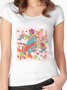 machine of robot vintage isometric Women's Fitted Scoop T-Shirt