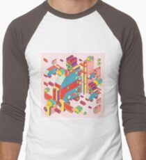 machine of robot vintage isometric Men's Baseball ¾ T-Shirt