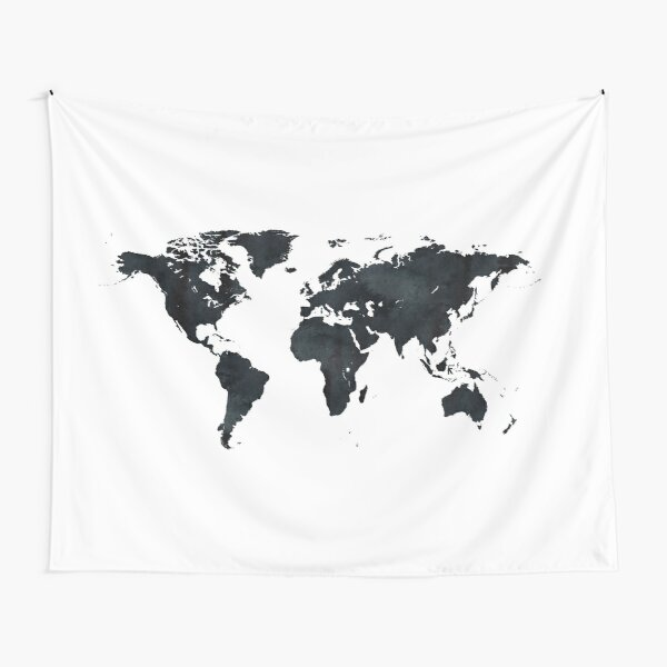 World Map in Black and White Ink on Paper Globe Map Tapestry Tapestry