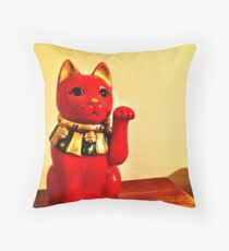 Lucky Cat - Maneki Neko  Throw Pillow