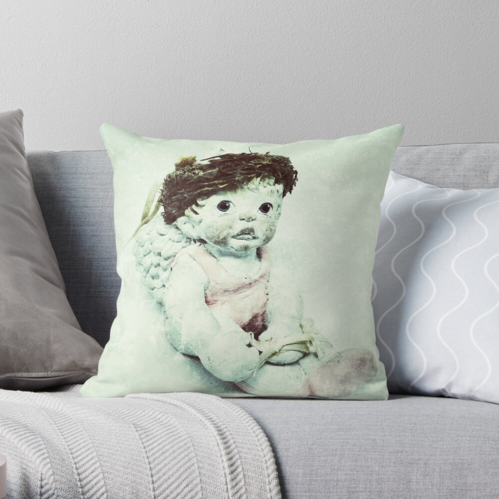 Gift for Dancer - Ballerina Angel Cherub in Pink Ballet Slippers - Ballet Gift Throw Pillow