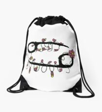The Cancer Sign Blooming With Flowers Drawstring Bag