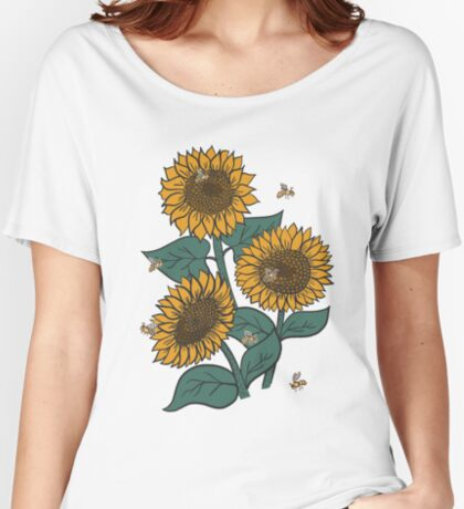 Sunflowers + Bees on Pink Women's Relaxed Fit T-Shirt