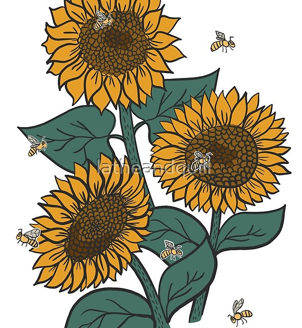 Sunflowers + Bees by latheandquill