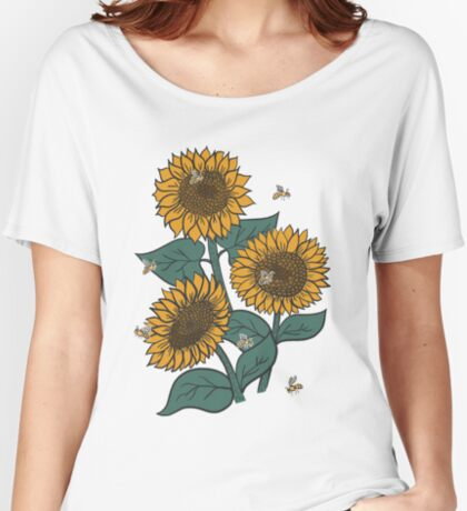 Sunflowers + Bees Women's Relaxed Fit T-Shirt