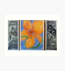 Triptic Flowers Art Print