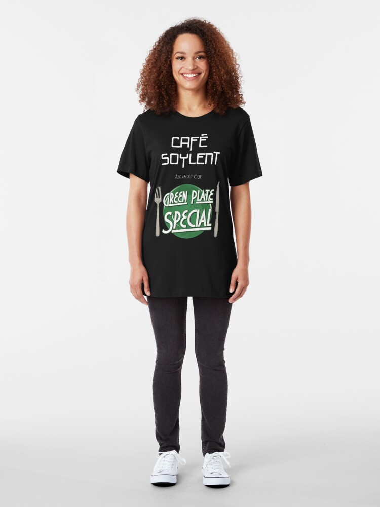 Alternate view of Soylent Cafe's Green Plate Special Slim Fit T-Shirt