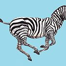 Zebra Running Blue by Meaghan Roberts
