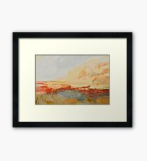 Zoom to Red house on the lake Framed Print