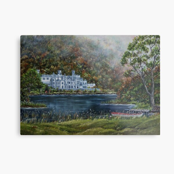 """Mist over Kylemore Abbey"" - Oil Painting Metal Print"