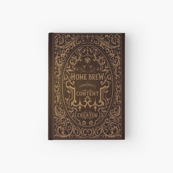 D20 Home Brew Content Creator Aged Label Hardcover Journal