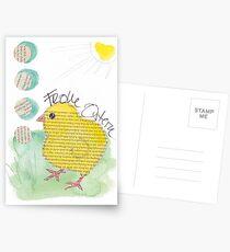 Frohe Ostern: Küken unter der Frühlingssonne Postkarten