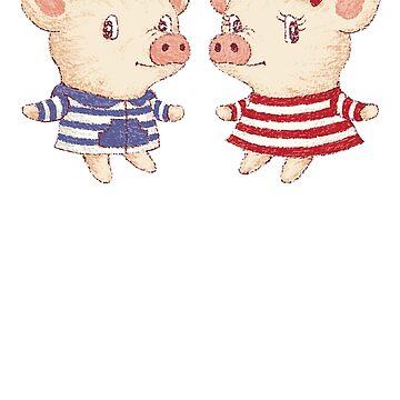 Linda pareja de cerdo de sanogawa