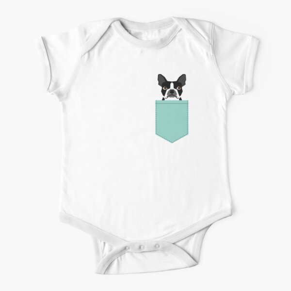 Logan - Boston Terrier pet design with bold and modern colors for pet lovers Short Sleeve Baby One-Piece