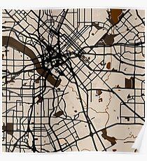 Dallas Straßenkarte // Brown Theme Poster