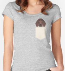 Piper - Dachshund, weener dog, wiener dog, pet portrait, sausage dog, pet Women's Fitted Scoop T-Shirt