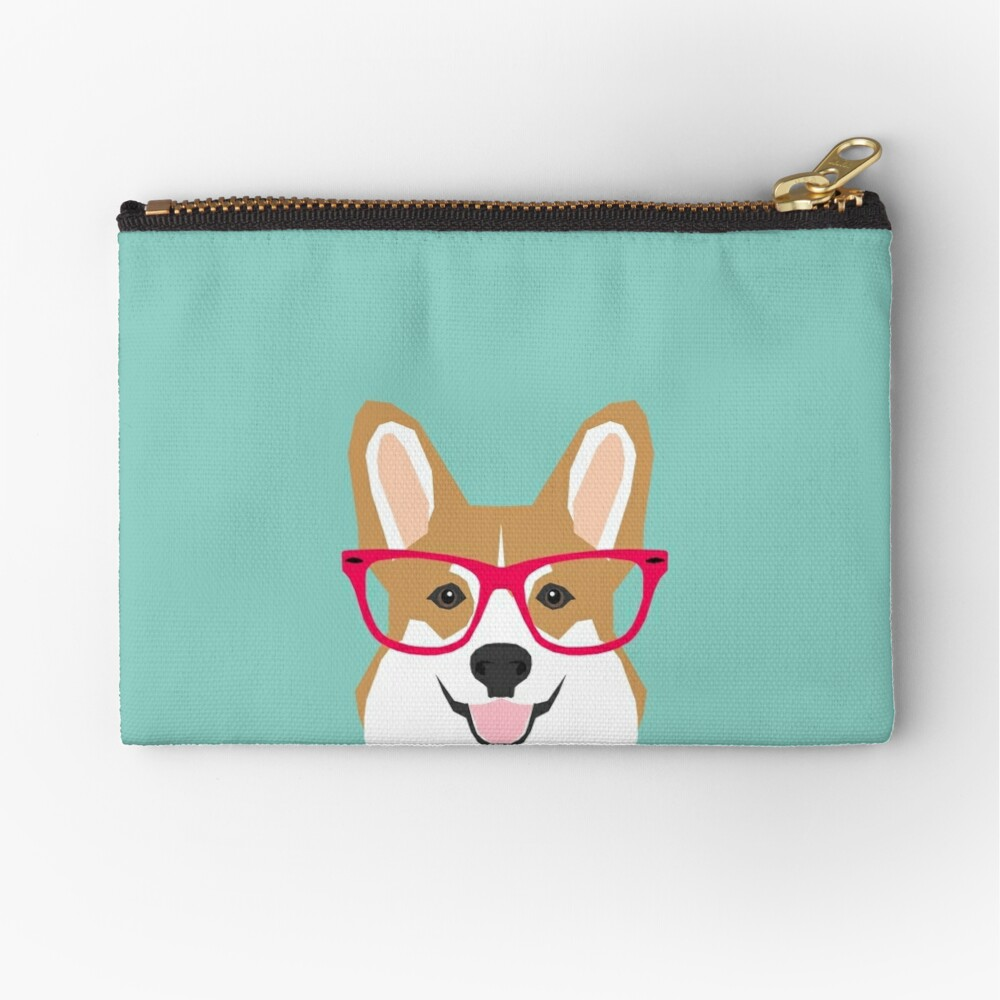 Teagan Glasses Corgi cute puppy welsh corgi gifts for dog lovers and pet owners love corgi puppies Zipper Pouch