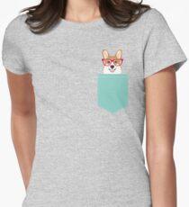 Camiseta entallada para mujer Teagan Glasses Corgi cute puppy welsh corgi regalos para los amantes de los perros y los dueños de mascotas amor corgi cachorros