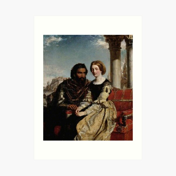 Othello and Desdemona - William Powell Frith - Date unknown - Fitzwilliam Museum - Cambridge (England) Painting - oil on canvas  Art Print