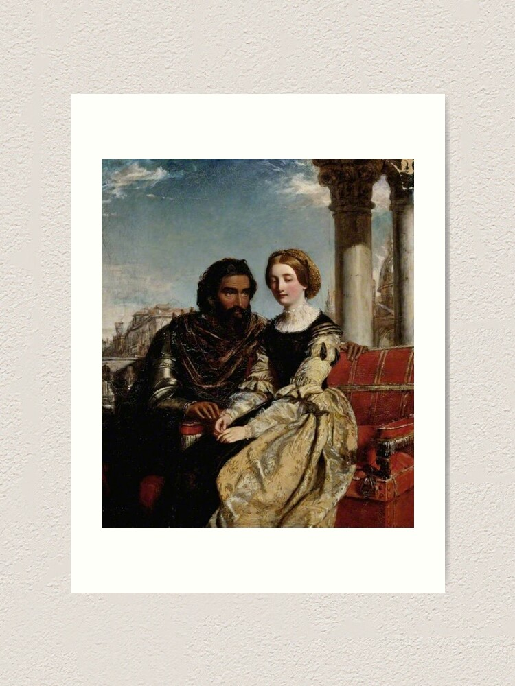 Alternate view of Othello and Desdemona - William Powell Frith - Date unknown - Fitzwilliam Museum - Cambridge (England) Painting - oil on canvas  Art Print