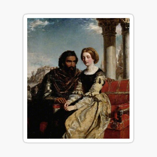 Othello and Desdemona - William Powell Frith - Date unknown - Fitzwilliam Museum - Cambridge (England) Painting - oil on canvas  Sticker