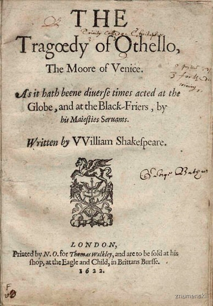 THE Tragoedy of Othello, The Moore of Venice, Written by William Shakespeare, London 1622 by znamenski